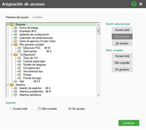 08-Pantalla de asignacion de accesos en mapas de ContaPlus Flex