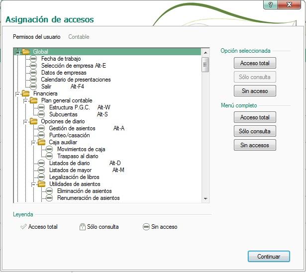 08-Pantalla de asignacion de accesos en mapas de ContaPlus