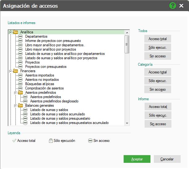 09-Pantalla de asignacion de accesos a informes de ContaPlus Flex