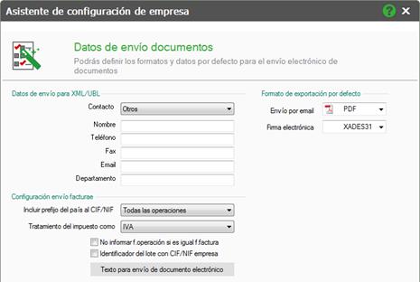 datos para el envío de documentos