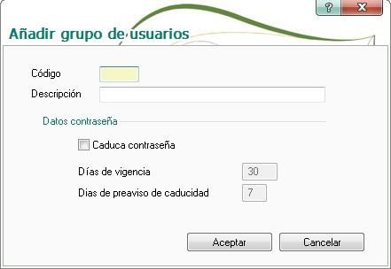 pantalla de alta de grupos de usuarios