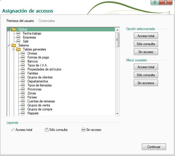 pantalla de asignacion de accesos en grupo de usuarios