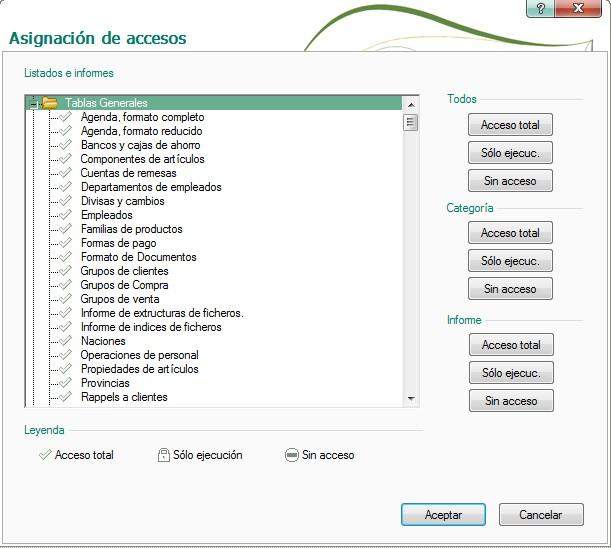 pantalla de asignacion de accesos en informes