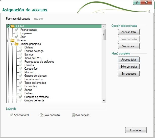 pantalla de asignacion de accesos totales