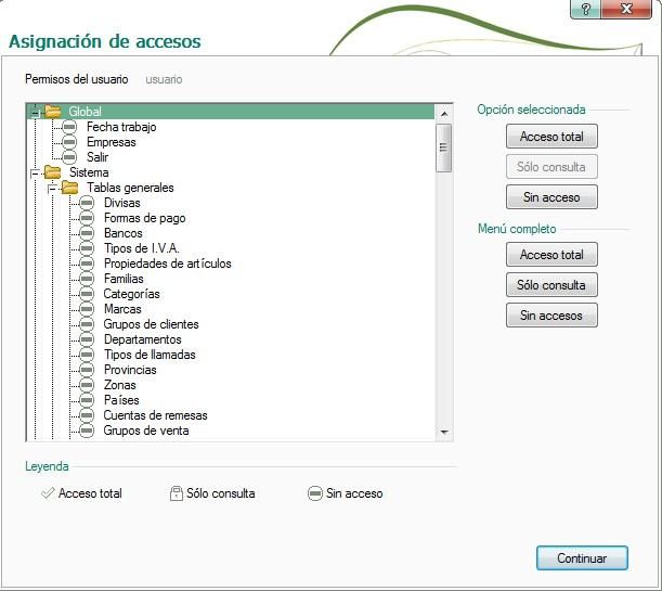 pantalla de asignacion de accesos
