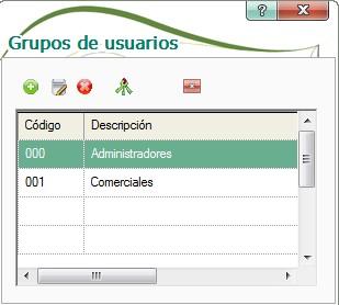 pantalla de grupos de usuarios