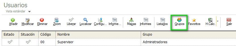 pantalla de seleccion de grupo de usuarios