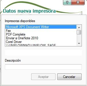 pantalla de seleccion de impresora