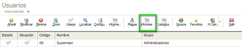 pantalla de seleccion de informes