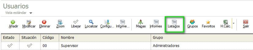 pantalla de seleccion de listados