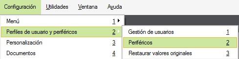 pantalla de seleccion del menu de perifericos