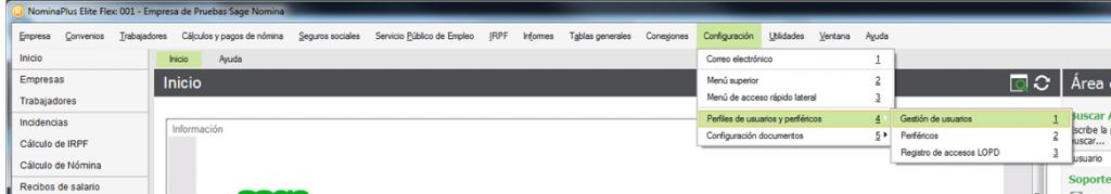 Configuración/ Perfiles de Usuarios y periféricos / Gestión de usuarios