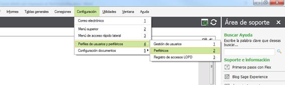 Configuración/ Perfiles de Usuarios y periféricos / Periféricos