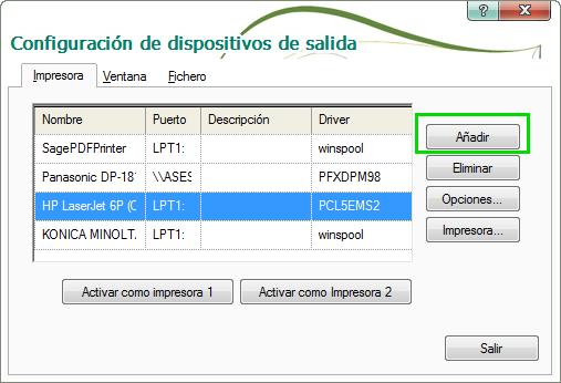 Configuración de dispositivo de salida