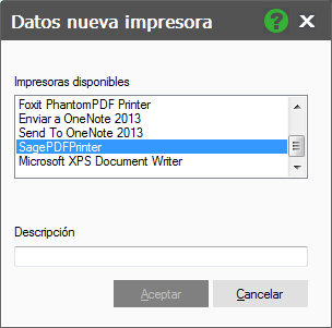 Datos nueva impresora