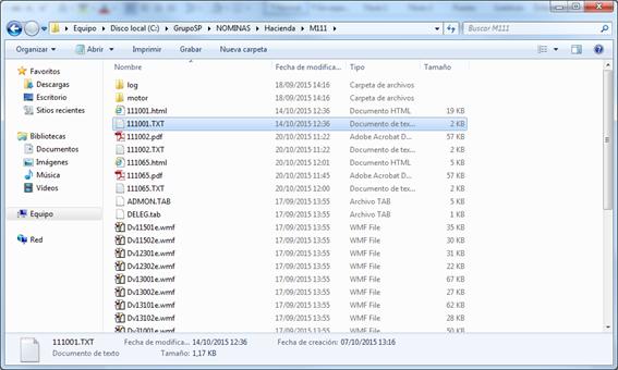 Nombre del fichero