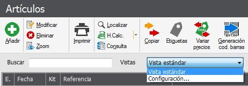 Pantalla de seleccion menu configuracion Flex