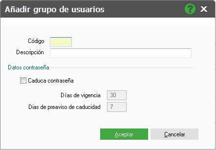 pantalla de alta de grupos de usuarios flex