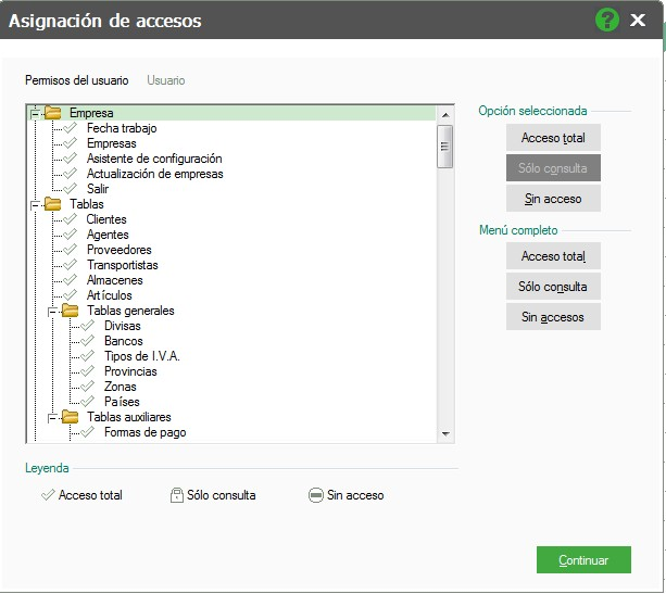 pantalla de asignacion de accesos con permisos totales flex