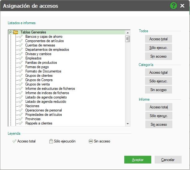 pantalla de asignacion de accesos en informes flex