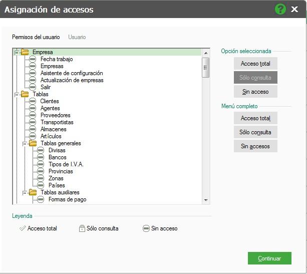 pantalla de asignacion de accesos flex