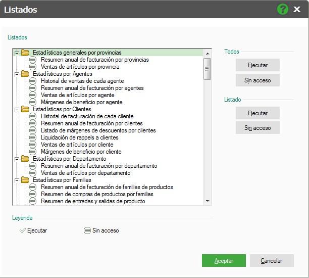pantalla de asignacion de accesos totales en listados flex