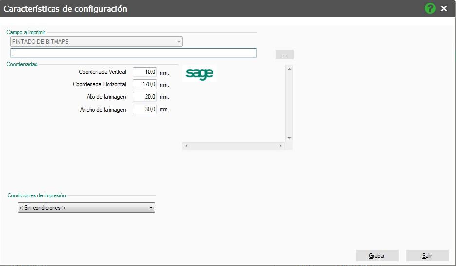 pantalla de caracteristicas de configuracion con logo flex