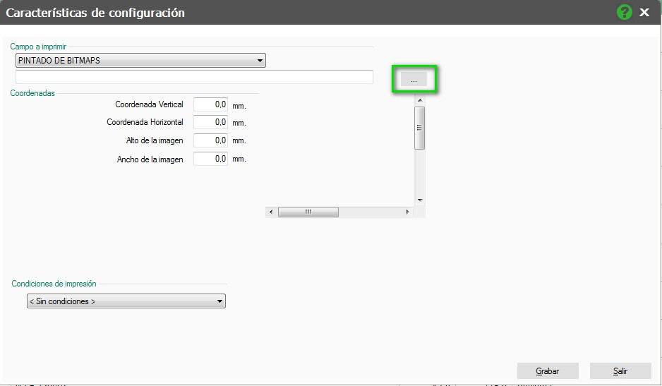 pantalla de caracteristicas de configuracion pintadobitmaps flex