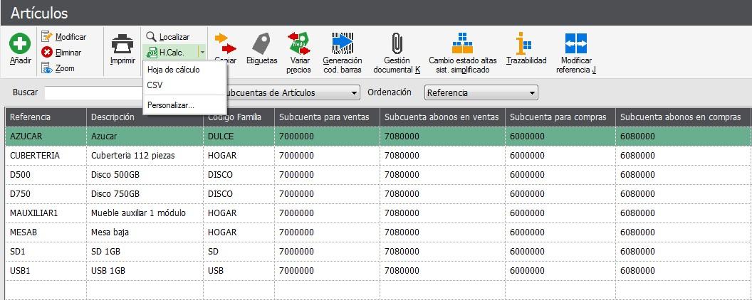 pantalla de exportacion de la vista creada Flex