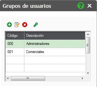 pantalla de grupos de usuarios flex