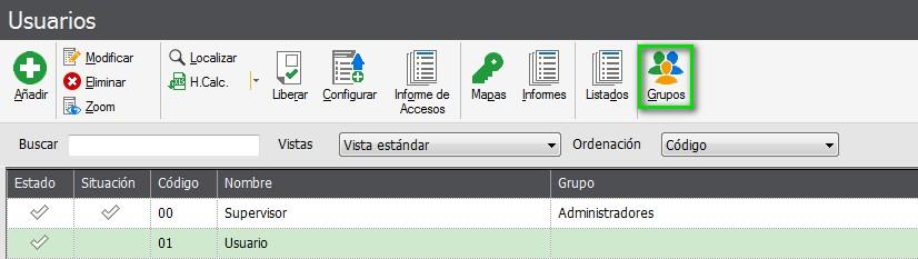 pantalla de seleccion de grupo de usuarios flex