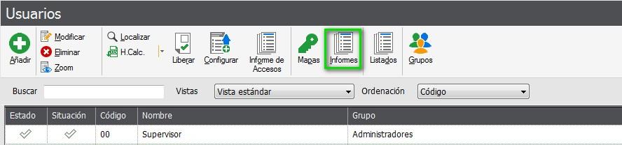 pantalla de seleccion de informes flex