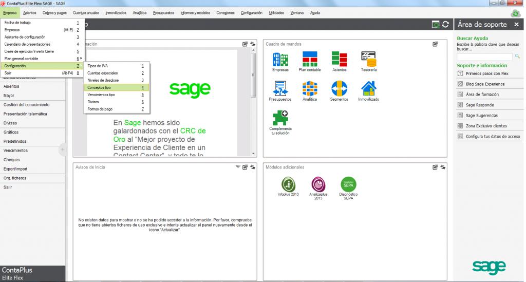 01-Pantalla de acceso al menu conceptos tipo de ContaPlus Flex