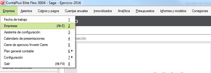01-Pantalla de acceso al menu seleccion de empresa de ContaPlus Flex