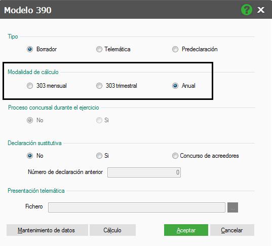 CALCULO DEL MODELO 390
