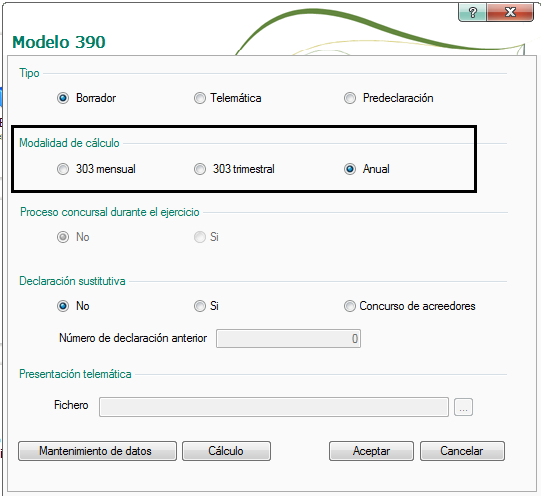 CÁLCULO DEL MODELO 390