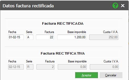 DATOS FACTURA RECTIFICADA