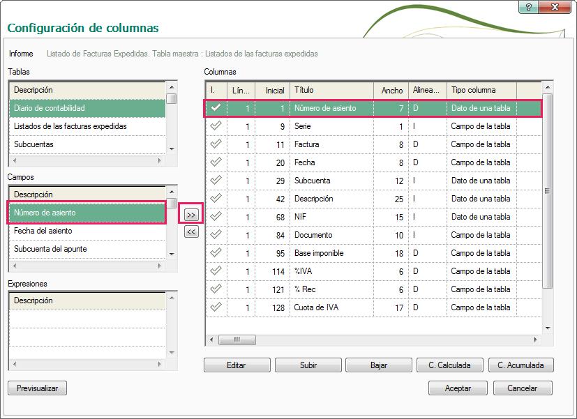 06-Pantalla de configuracion de columnas de informes de ContaPlus