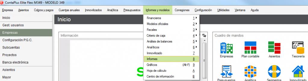 03-Pantalla de acceso a informes de ContaPlus Flex