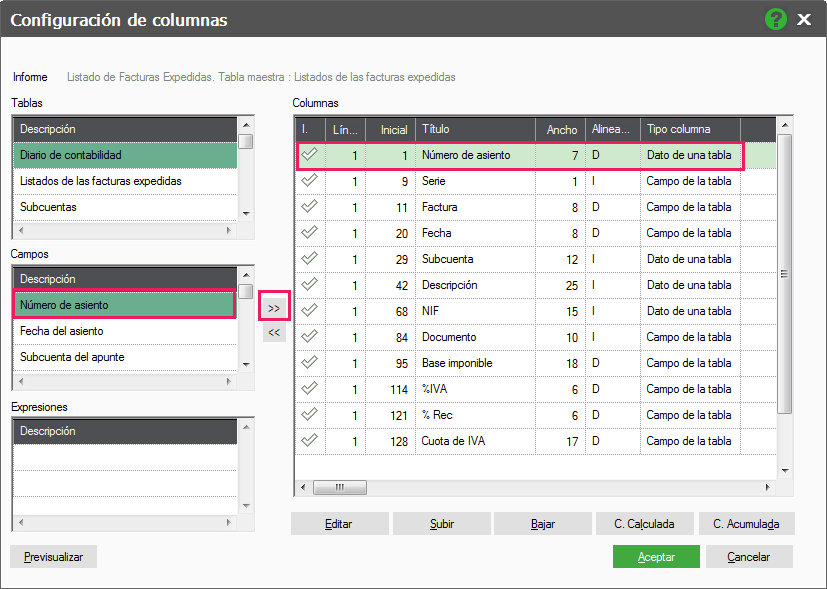 06-Pantalla de configuracion de columnas de informes de ContaPlus Flex