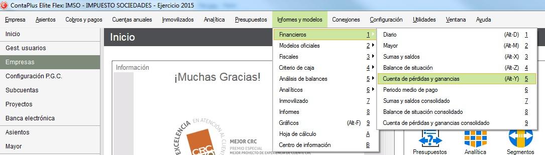 03-Pantalla de acceso a la cuenta de perdidas y ganancias de ContaPlus Flex