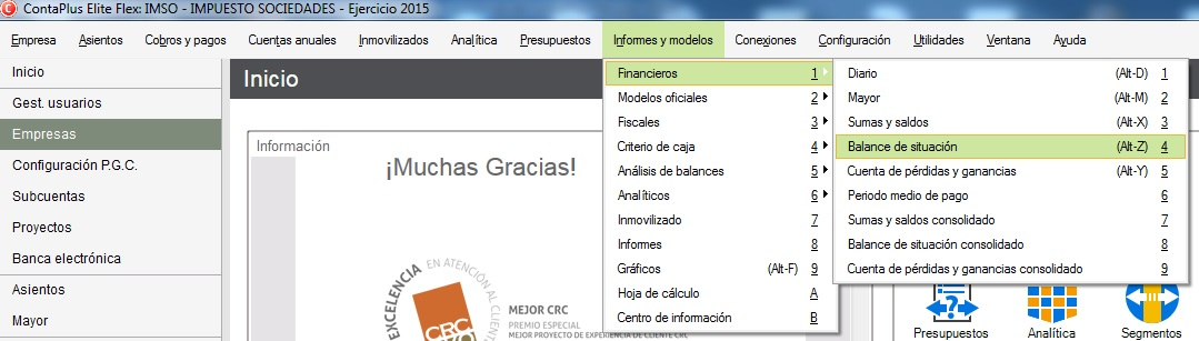 05-Pantalla de acceso al balance de situacion en ContaPlus Flex