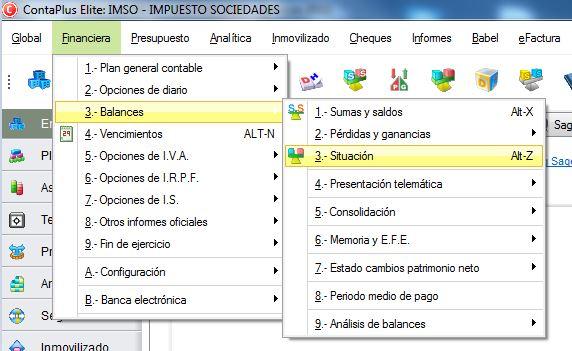 05-Pantalla de acceso al balance de situacion en ContaPlus
