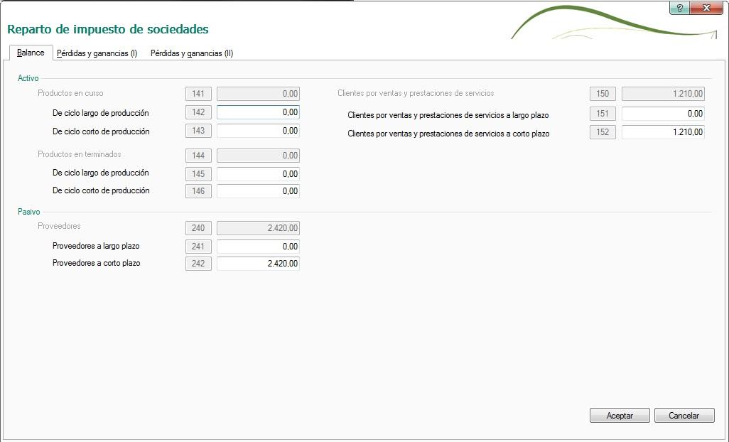14-Pantalla de reparto de impuesto de sociedades en ContaPlus