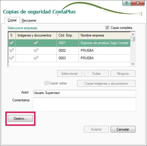 06-Pantalla de copias de seguridad ContaPlus