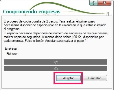 09-Pantalla comprimiendo empresas de copias de seguridad en ContaPlus
