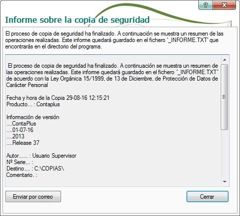 13-Pantalla informe sobre la copias de seguridad en ContaPlus