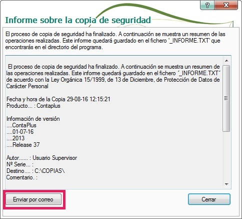 14-Pantalla informe sobre la copias de seguridad en ContaPlus
