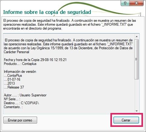 16-Pantalla informe sobre la copias de seguridad en ContaPlus