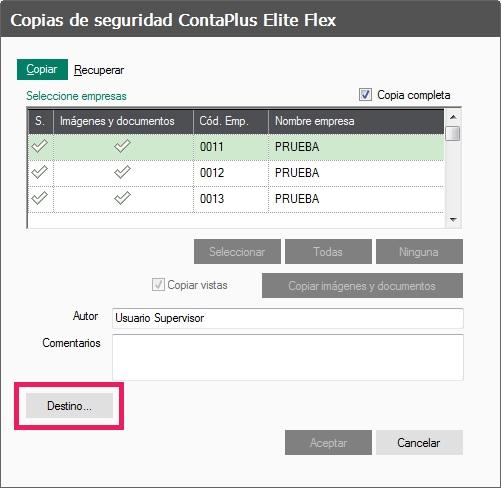 06-Pantalla de copias de seguridad ContaPlus Flex